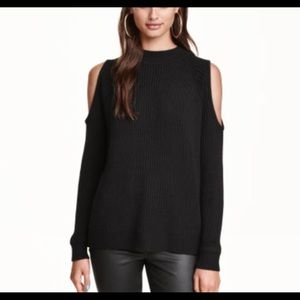 Ribbed, open shoulder sweater